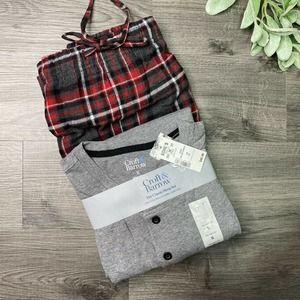 Croft & Barrow Mens Sleep Set pajamas XL Gray New